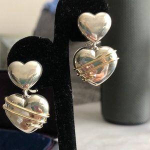 Tiffany & Co. Sterling Silver & 18k heart earring